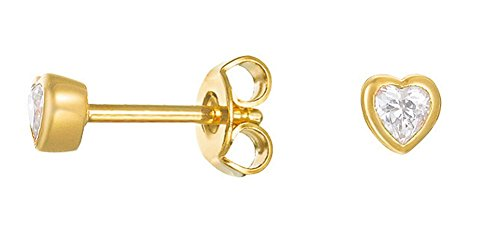 Essential Damen Ohrstecker ES LOVE GOLD teilvergoldet Zirkonia transparent   ESER02900B000