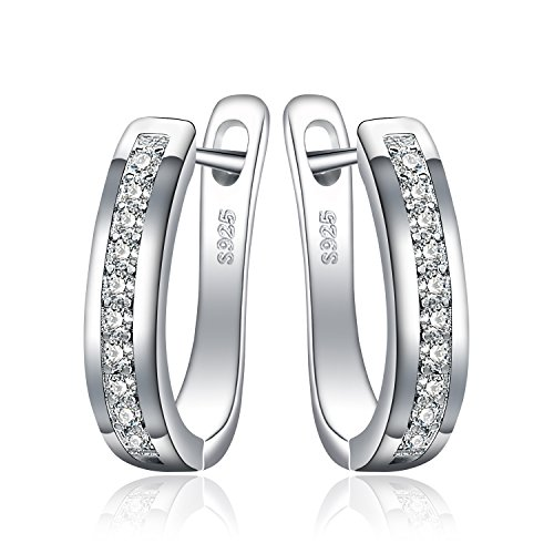 JewelryPalace Eternity Zirkonia Hochzeit Huggie Hoop Channel Set 925 Sterling