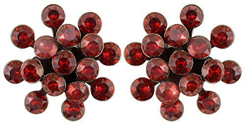 Mini Earring stud  red crystal red magma mini antique brass