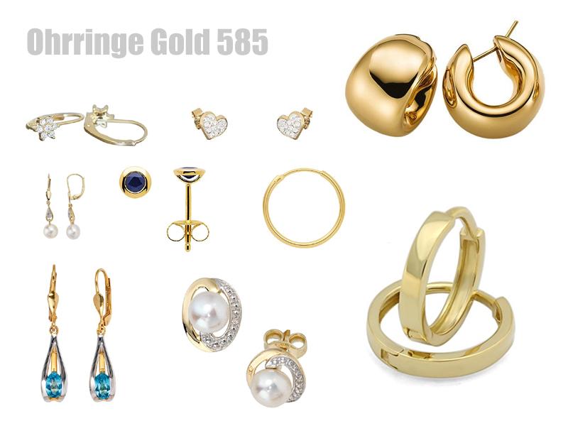 hochwertige ohrringe aus gold 585. Black Bedroom Furniture Sets. Home Design Ideas
